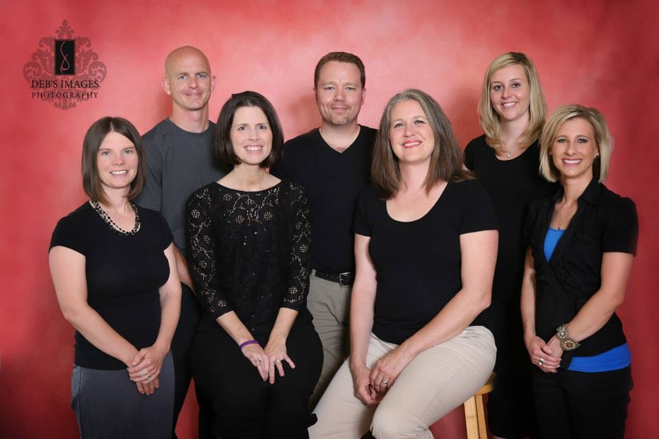 Standing; Keith Graham owner, Bryan Potter owner, speech therapist, Chelsea Hamilton speech therapist. Front row; Jena Meyer speech therapist, Mandy Graham owner, speech therapist, Carrie Potter owner, office admin. and Kindra Howard, speech therapist